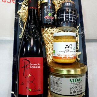 vin rouge Domaine des Saulaies, Tartin'Apéro Végétal, confiture du Clocher, confit de canard, moutarde