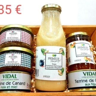 soupe primeur : artichaut de Bretagne au piment d'Espelette, pâté de campagne au porc fermier breton, terrine de cerf de Haute Brocéliande, terrine de canard noix & miel, terrine de canard aux figues, confiture primeur abricot du Roussillon